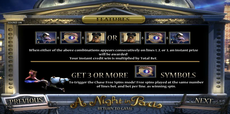 A Night In Paris Slot Features